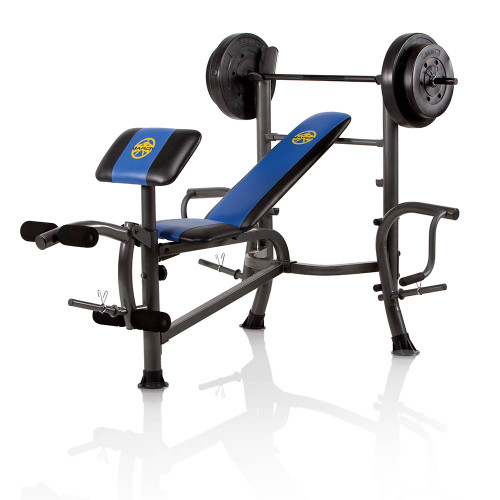 The Marcy Standard Bench with 80 lb Weight Set MWB-36780B is a complete home gym in a single purchase