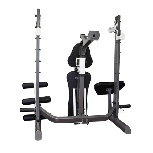 The Marcy Multi-position Foldable Olympic Weight Bench MWB-70205 has bar catches on the pack of the post allowing you to do squats