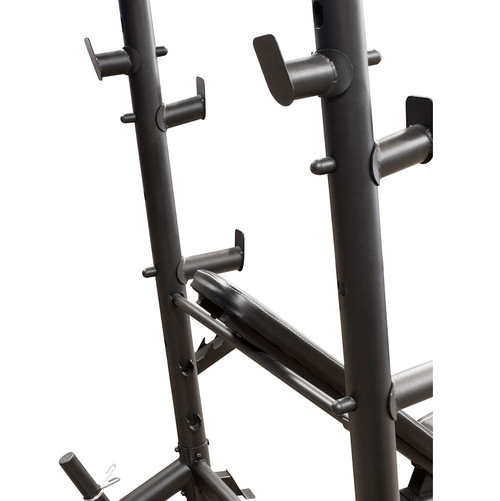 The Marcy Diamond Mid Size Bench MD-867W has bar catches on the back of the post allowing you to do squats