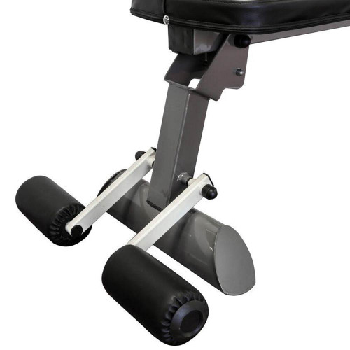 The Marcy Flat Bench SB-10500 comes with leg rollers to stabilize your high intensity interval conditioning