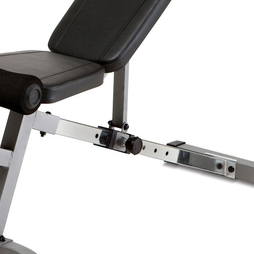 The Marcy SB-510 Utility Bench is adjustable - workout in flat decline incline and military press positions