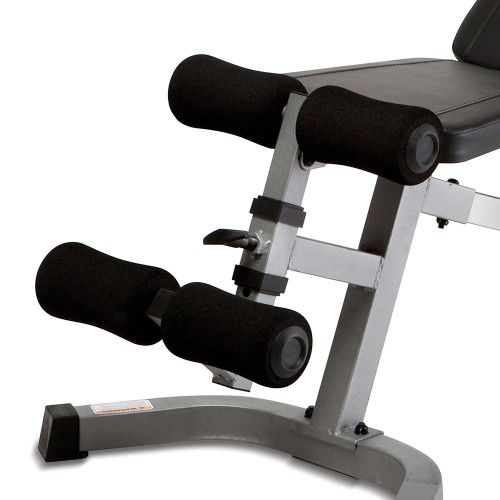 The Marcy SB-510 Utility Bench includes foam padded rollers to stabilize your intense workouts
