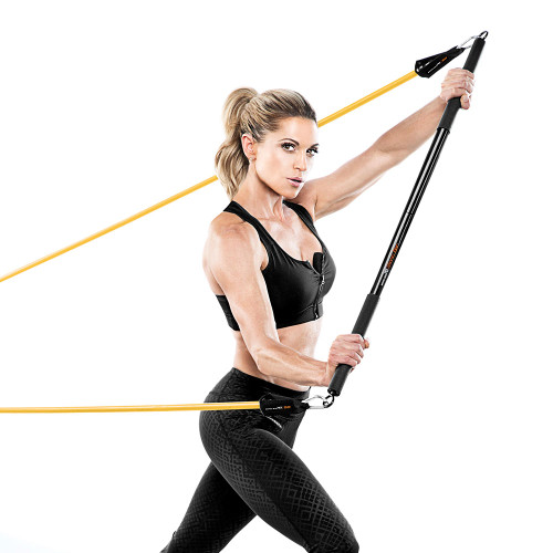 Bionic Body BBEB-20 Exercise Bar in use by Kim Lyons to optimize her HIIT conditioning