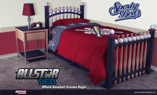 AllStar 3-Pc Twin Baseball Bedroom Set - Baseball Bed For Boys That Love Sports/Sporty Beds