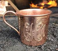 Hammered Copper Mug with Customized Logo