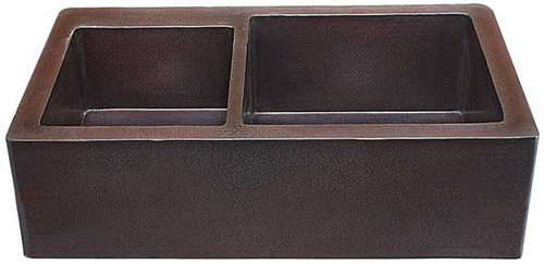 Farmhouse kitchen sink 40/60 in hammered copper