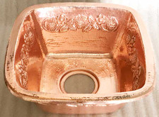 (SBV15-SHY) Shiny Copper Square Contoured Brass Bar Prep Sink