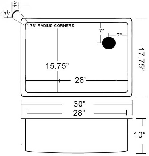 Custom Copper sink with Corner Drain