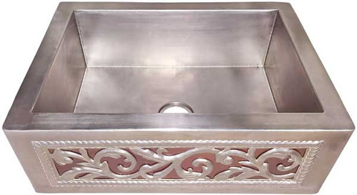Smooth Copper Sink, Plated in Nickel with Scroll Front and dark copper inlay