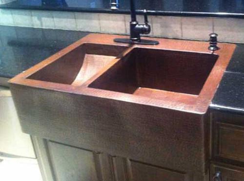 Custom copper double sink