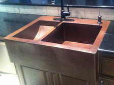 FHA  Custom Copper Farmhouse Sink Kitchen Top Mount Double Sink