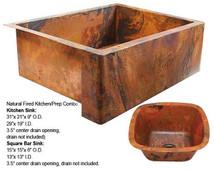 Farmhouse Copper Sink/Square Bar Sink Combo-Natural Fire (FHA-SBV-COMBO)