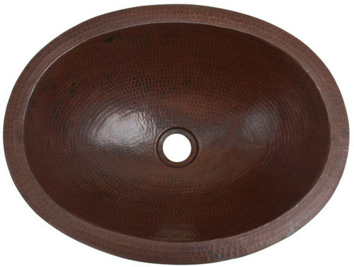 Master Bath Oval Self Rimming Hammered Copper Bathroom Sink Side View.