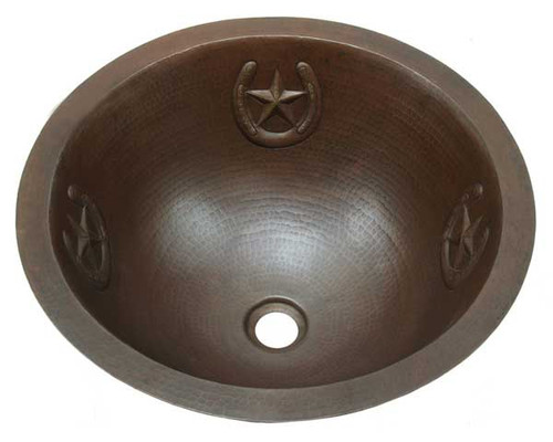 copper round sink with horseshoe/star design