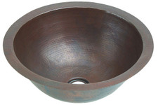 Medium sized hammered round copper sink