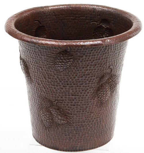 Hammered copper trash can with pinecone design