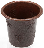Hammered copper trash can with snowflake designs