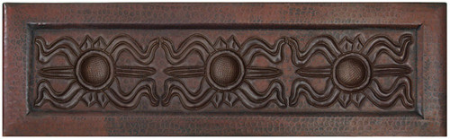 Greek design on apron farmhouse copper kitchen sink