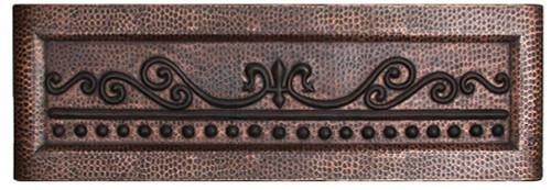 FDLSC-Fleur De Lis Scroll Design in our MEDIUM Duo-Tone Finish copper sink