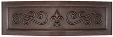 Farmhouse (FHA-FDLSW) Copper Kitchen Sink Fleur De Lis Swirl Designer Front