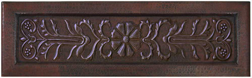 Copper kitchen sink with floral scroll burst apron front