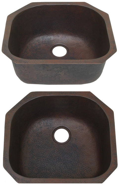 Contoured copper kitchen sink