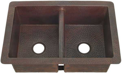 Hammerd copper kitchen sink with double equal bowls and lower divider