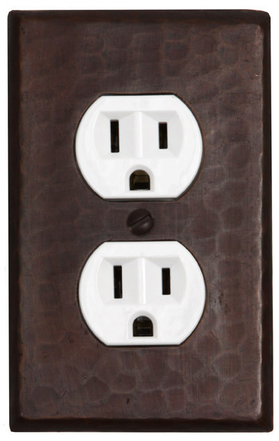 Single gang oulet plug copper cover