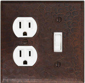 Outlet plug and toggle switch combo cover in copper