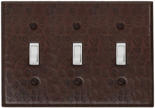 Triple toggle switchplate copper cover