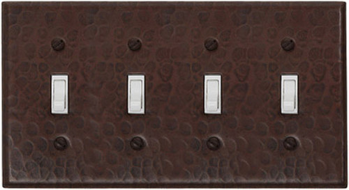 Quad toggle switchplate cover in hammered copper