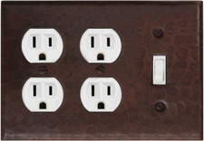 Switch Plate Cover (LSC405) 3 Gang Triple Plate Cover Double Plug Outlets + Standard Toggle Cover