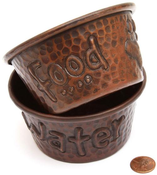 Mini copper pet bowl set food/water