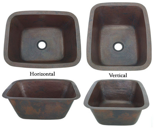 Hammered copper bar sink rectangle