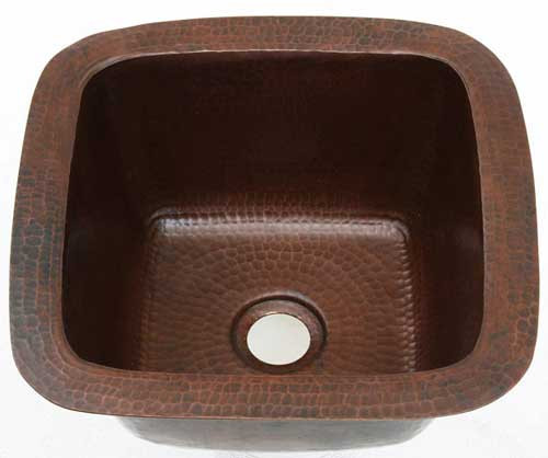 Mini square hammered copper bar sink