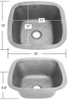 SBV13-Small Square Hammered Copper Bar Sink Specs