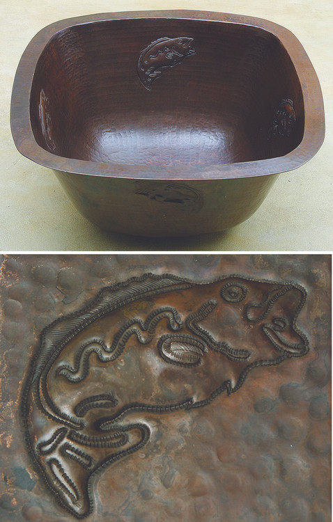 Square copper bar sink with jumping bass fish design