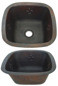 Square copper bar sink with Fleur De Lis design