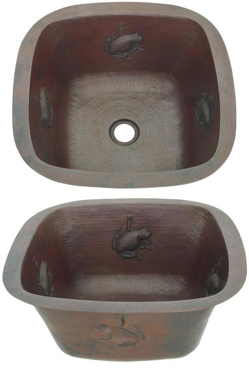SBV15FRG-Square Hammered Copper Bar with Frog Design