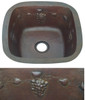 Square copper bar sink with grapevine design