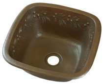 square copper bar sink with olive branch design