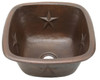 Square copper bar sink with star design