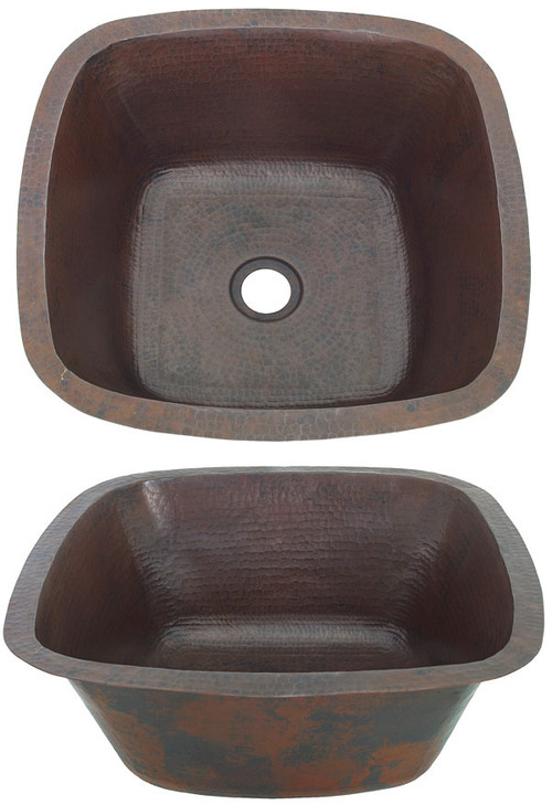 Large copper square bar sink.