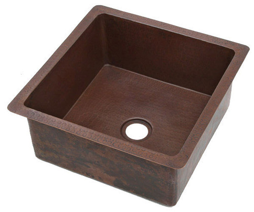 Hammred square copper bar sink
