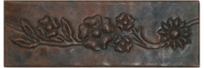 "Copper Tile (TL012) 2""x 6""  Flowers on the Vine Design *free shipping*"