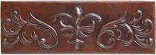 """Copper Tile (TL060) 2""""x 6""""  Fleur Scroll"""