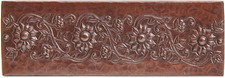 "Copper Tile (TL061) 2""x 6""  Floral Scroll *free shipping*"