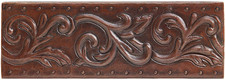 "Copper Tile (TL062) 2""x 6""  Vine Scroll"