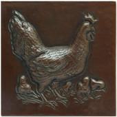 Copper Tile (TL207) Hen w/Chicks Design