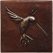 Hummingbird design copper tile